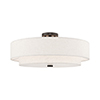 This item: Meridian English Bronze 22-Inch Five-Light Ceiling Mount with Hand Crafted Oatmeal Hardback Shade