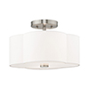 This item: Chelsea Brushed Nickel 13-Inch Two-Light Ceiling Mount with Hand Crafted Off-White Hardback Shade