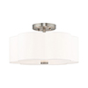 This item: Chelsea Brushed Nickel 15-Inch Three-Light Ceiling Mount with Hand Crafted Off-White Hardback Shade