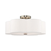 This item: Chelsea Brushed Nickel 18-Inch Three-Light Ceiling Mount with Hand Crafted Off-White Hardback Shade