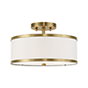 This item: Park Ridge Antique Brass 13-Inch Two-Light Ceiling Mount with Hand Crafted Off-White Hardback Shade