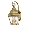 This item: Exeter Antique Brass 8-Inch Two-Light Outdoor Wall Lantern with Clear Water Glass