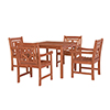 This item: Malibu Brown 5-piece Patio Stacking Table Dining Set with Four Diamond Chairs