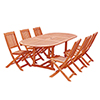 This item: Malibu Outdoor 7-piece Wood Patio Dining Set with Extension Table and Folding Chairs