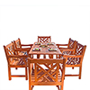 This item: Malibu Outdoor 7-piece Wood Patio Dining Set with Curvy Leg Table