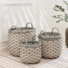 This item: Valeria Gray White Three-Piece Plant Pot and Laundry Basket Set with Handles