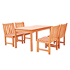 This item: Malibu Outdoor 5-piece Wood Patio Dining Set with Armless Chairs