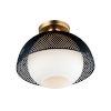 This item: Perf Black and Satin Brass One-Light Semi-Flush Mount
