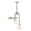 This item: Mingle Bronze and Satin Brass Six-Inch Two-Light LED Adjustable Pendant