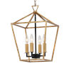 This item: Abode Gold Leaf and Textured Black Four-Light Chandelier