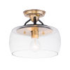 This item: Goblet Black and Antique Brass 11-Inch One-Light Semi-Flush Mount