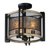 This item: Boundry Black Barn Wood and Antique Brass Three-Light Flush Mount