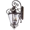 This item: Aged Patina and Gold Leaf Accent Three-Light Outdoor Wall Mount Lantern