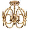 This item: Clairpointe Pandora Gold Leaf Three-Light Semi-Flush Mount