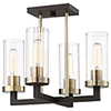This item: Ainsley Court Aged Kinston Bronze and Brushed Brass Four-Light Semi Flush Mount