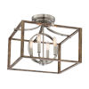 This item: Country Estates Sun Faded Wood With Brushed Nickel Four-Light Semi-Flush Mount