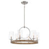 This item: Country Estates Sun Faded Wood With Brushed Nickel 28-Inch Six-Light Chandelier