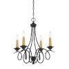 This item: La Courbe Black With Antique Brass Four-Light Chandelier