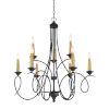This item: La Courbe Black With Antique Brass Nine-Light Chandelier