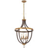 This item: Safra Harvard Court Bronze with Natural Brushed Brass Four-Light Pendant