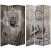 This item: Tall Double Sided Stone Buddha Gray Canvas Room Divider