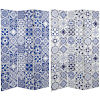 This item: Tall Double Sided Blue and White Tile Canvas Room Divider