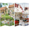 This item: Tall Double Sided Country Village Multicolor Canvas Room Divider