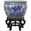 This item: 16 Inch Ladies Blue and White Porcelain Fishbowl