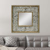 This item: Neutral Square Wall Mirror with Floral Tile