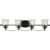 This item: Bowman Matte Black 34-Inch Four-Light Bath Vanity with Clear Chiseled Glass Shade