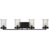 This item: Winslett Matte Black 33-Inch Four-Light Bath Vanity with Clear Seeded Shade