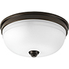This item: P350048-020: Topsail Antique Bronze Three-Light Flush Mount with Etched Parchment Glass