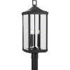 This item: Gibbes Street Textured Black 10-Inch Three-Light Outdoor Post Mount with Clear Beveled Shade