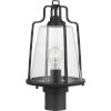 This item: Benton Harbor Textured Black Nine-Inch One-Light Outdoor Post Mount with Clear Shade