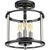 This item: P550011-031: Squire Black Three-Light Outdoor Semi Flush Mount