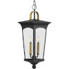 This item: Chatsworth Textured Black Nine-Inch Two-Light Outdoor Pendant with Clear Shade