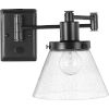 This item: Hinton Black One-Light ADA Wall Sconce with Clear Seeded Glass