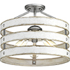 This item: P350049-141: Gulliver Galvanized Three-Light Semi Flush Mount