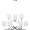 This item: Tobin Brushed Nickel Nine-Light Chandelier With Etched White Glass