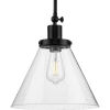This item: Hinton Matte Black One-Light Pendant with Clear Seeded Glass