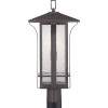 This item: Cullman Antique Bronze One-Light Outdoor Post Lantern With Transparent Seeded Glass