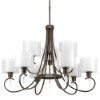 This item: Invite Antique Bronze Nine-Light Two-Tier Chandelier with White Silk Mylar Glass