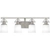 This item: Grant Antique Nickel Four-Light Bath Vanity with Etched Opal Glass