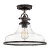 This item: Grant Palladian Bronze 14-Inch One-Light Semi-Flush Mount with Clear Seeded Glass