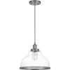 This item: Leo Antique Nickel 12-Inch One-Light Pendant with Clear Glass