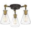 This item: Mccall Western Bronze Three-Light Semi-Flush Mount with Transparent Glass