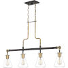 This item: Mccall Western Bronze Four-Light Island Chandelier with Transparent Glass