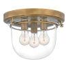 This item: Classic Weathered Brass Three-Light Flush Mount