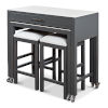 This item: Gray Simple Kitchen Island with Table and Two Stools