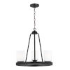This item: Kemal Midnight Black Three-Light Chandelier with Etched White Inside Shade Energy Star